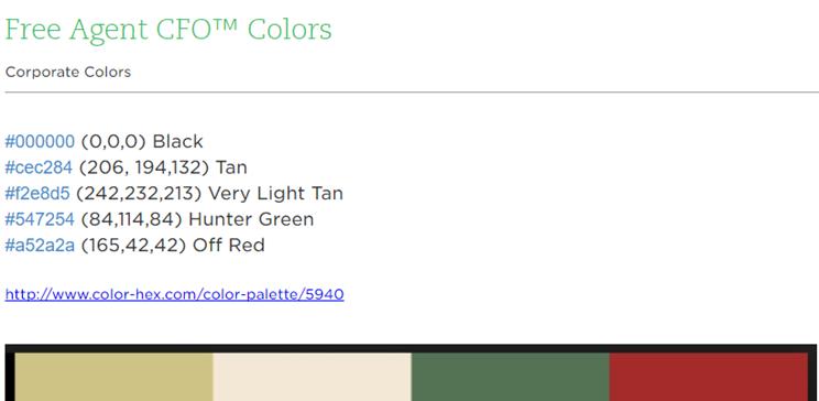 Free Agent CFO™ Colors