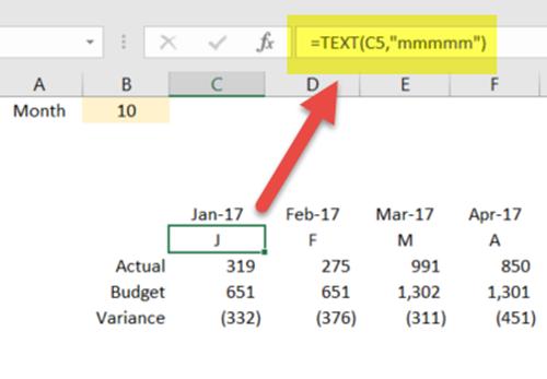 Step 2- Month Heading Formatting